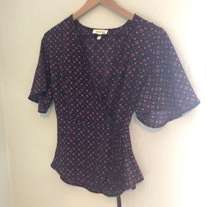 Monteau patterned wrap blouse